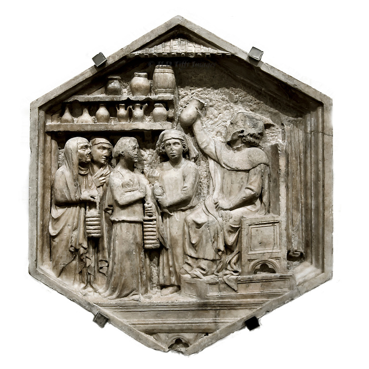 Hexagonal lozenge from the Campanile: apothecary in his shop with four women customers, denoting the Art of Medicine.  Attributed to Andrea Pisano.