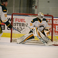 1st year goalie Michael Herringer(35) of the Regina Cougars in action during the Men's Hockey home game on November 11 at Co-operators arena. Credit: Arthur Ward/Arthur Images