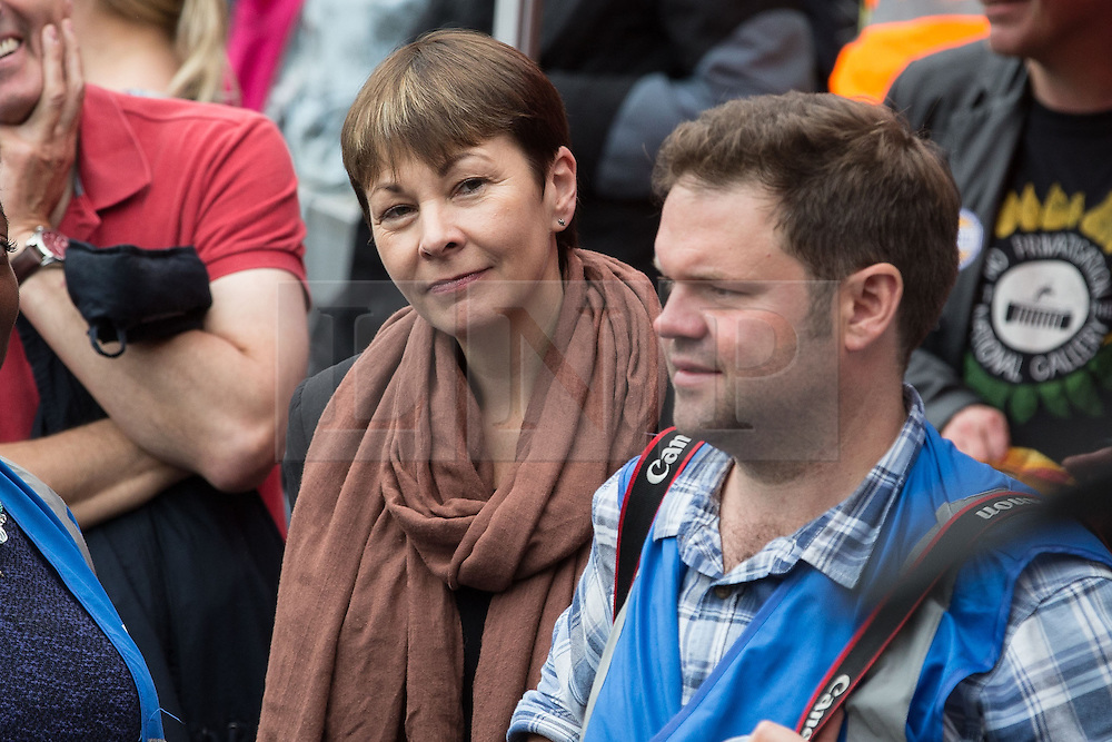 © Licensed to London News Pictures . 20/06/2015 . London , UK . CAROLINE LUCAS  in Parliament Square . Tens of thousands of people march from the Bank of England to Parliament , to protest economic austerity in Britain . Photo credit: Joel Goodman/LNP