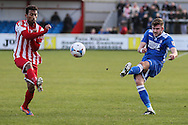 Shaun Bammant of Lowestoft Town (right) crosses the ball during the Conference North match at St. James Park, Brackley<br /> Picture by David Horn/Focus Images Ltd +44 7545 970036<br /> 24/01/2015