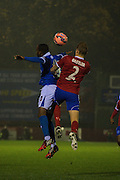 Craig Westcarr and Joe Oaslter during the The FA Cup match between Aldershot Town and Portsmouth at the EBB Stadium, Aldershot, England on 19 November 2014.