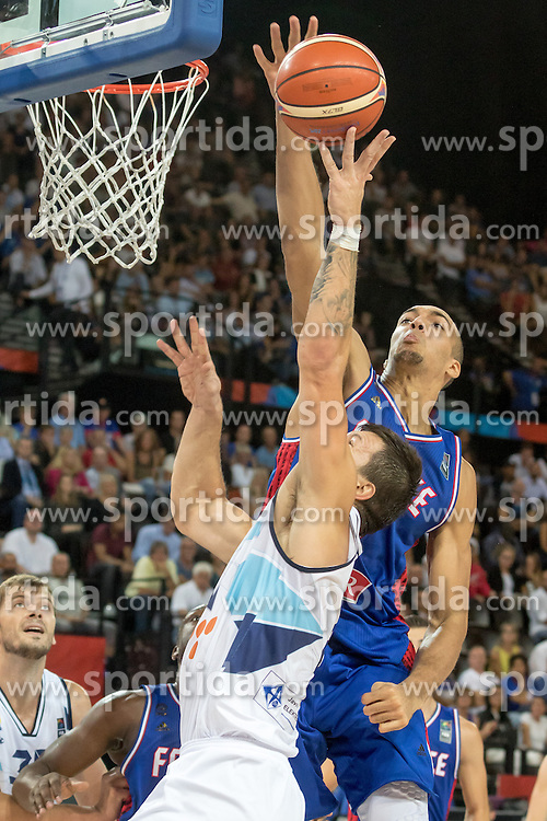06.09.2015, Park Suites Arena, Montpellier, FRA, Bosnien und Herzegowina vs Frankreich, Gruppe A, im Bild RUDY GOBERT (16) // during the FIBA Eurobasket 2015, group A match between Bosnia an Herzegowina and France at the Park Suites Arena in Montpellier, France on 2015/09/06. EXPA Pictures &copy; 2015, PhotoCredit: EXPA/ Newspix/ Pawel Pietranik<br /> <br /> *****ATTENTION - for AUT, SLO, CRO, SRB, BIH, MAZ, TUR, SUI, SWE only*****