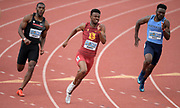 Apr 19, 2019; Torrance, CA, USA; Marquis Morris of Southern California wins 200m heat in 21.82 during the 61st Mt. San Antonio College Relays at El Camino College.