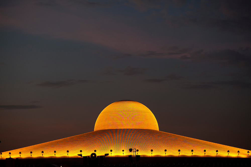 A view of top of the Temple of Dhammakaya Buddhist movement founded in Thailand during Makha Bucha day at Wat Phra Dhammakaya  on the outskirts of Bangkok, Thailand Wednesday, March 7, 2012.