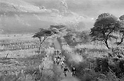 Children running down road to school