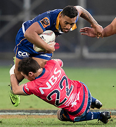 Otago's Latu Vaeno, top, is tackled by Tasman's Tim O'Malley in the Mitre 10 Cup rugby match, Forsyth Barr Stadium, Dunedin, New Zealand, Sept. 16 2017.  Credit:SNPA / Adam Binns ** NO ARCHIVING**
