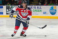 KELOWNA, CANADA - MARCH 8: Mitch Topping #25 of the Tri-City Americans looks for the pass against the Kelowna Rockets  on March 8, 2014 at Prospera Place in Kelowna, British Columbia, Canada.   (Photo by Marissa Baecker/Getty Images)  *** Local Caption *** Mitch Topping;