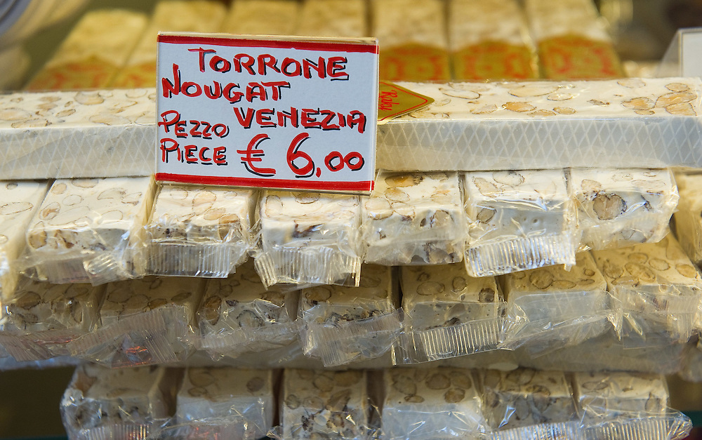 VENICE, ITALY - DECEMBER 08:  A sign shows the price of Venetian Nougat one of the tradisional Christmas sweets on December 8, 2011 in Venice, Italy. HOW TO LICENCE THIS PICTURE: please contact us via e-mail at sales@xianpix.com or call our offices in London   +44 (0)207 1939846 for prices and terms of copyright. First Use Only ,Editorial Use Only, All repros payable, No Archiving.© MARCO SECCHI