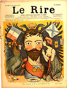 Russian foreign policy: France, in the guise of her mascots Chanticleer and Madeleine, making advances to Nicholas II (1868-1919) Tsar of Russia from 1894. Cartoon from 'Led Rire', Paris, 28 August 1897.