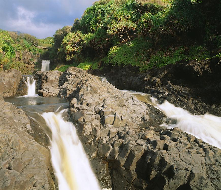 0803-1003 ~ Copyright: George H. H. Huey ~ The Lower Pools of Oheo Gulch at Kipahulu [aka Seven Sacred Pools]. Haleakala National Park, Maui, Hawaii.