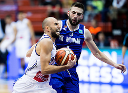 Nebojsa Joksimovic of Cibona vs Emir Hadzibegovic of KK Mornar during basketball match between KK Cibona Zagreb (CRO) and KK Mornar (MNE) in Round #4 of FIBA Champions League 2016/17, on November 9, 2016 in Drazen Petrovic Basketball center, Zagreb, Croatia. Photo by Vid Ponikvar / Sportida