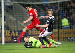 Rangers Lee Robinson and Falkirk's Craig Sibbald. Falkirk 1 v 1 Rangers, Scottish Championship game played 27/2/2014 at The Falkirk Stadium .