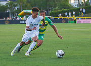 Swope Park Rangers midfielder Will Little(49) and Tampa Bay Rowdies defender Caleb Richards(20) battle for the ball during a USL soccer game, Sunday, May 26, 2019, in St. Petersburg, Fla. The Rowdies defeated the Rangers 1-0. (Brian Villanueva/Image of Sport)