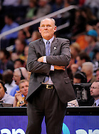 Mar. 10, 2011; Phoenix, AZ, USA; Denver Nuggets head coach George Karl reacts from the sidelines while playing against the Phoenix Suns at the US Airways Center. The Nuggets defeated the Suns 116-97.  Mandatory Credit: Jennifer Stewart-US PRESSWIRE