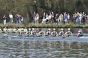Henley, GREAT BRITAIN,  CUWBC, Cambridge women's blue boat passes Upper Thames RC on it way to victory in the 2012 Women's Boat Race.  Henley Boat Races, Raced on Henley Reach, Henley on Thames, England, Sunday  25/03/2012. [Mandatory Credit, Peter Spurrier/Intersport-images..Cambridge; Bow: Sarah Moir-Porteous, 2: Caroline Reid, 3: Rebecca Pound, 4: Anna Railton, 5: Holly Game, 6: Isabel Boanas-Evans, 7: Fay Sandford, Stroke: Cath Wheeler,Cox: Kate Richards...Oxford; Bow: Mary Foord-Weston, 2: Alexandra Dix, 3: Caitlin Goss, 4: Eleanor Darlington, 5: Florence Morton, 6: Rebekah Pawley, 7: Annika Malin Bruger, Stroke: Charlotte Trigle, Cox: Rebecca Preece.