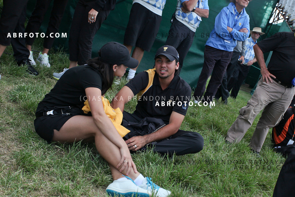 20 November 2011 : Jason Day and wife Ellie Harvey during the fifth-round Sunday Final round single ball matches at the Presidents Cup at the Royal Melbourne Golf Club in Melbourne, Australia. .