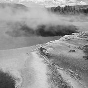 Drifting Steam Geyser Pool And Cyanobacteria - Yellowstone National Park - Infrared Black & White