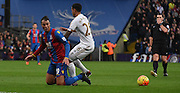 Marouane Chamakh squeesing the ball out wide during the Barclays Premier League match between Crystal Palace and Swansea City at Selhurst Park, London, England on 28 December 2015. Photo by Michael Hulf.