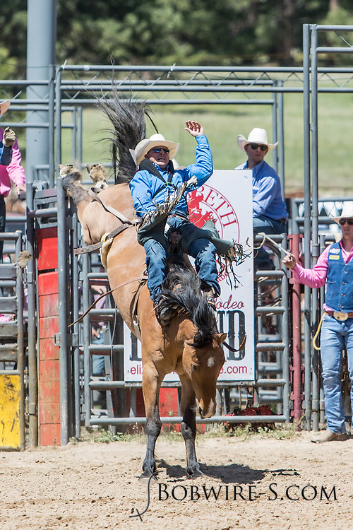 Craig Wisehart rides Summit Pro Rodeo's 925 Augustus in the bareback riding during the first performance at the Elizabeth Stampede on Saturday, June 2, 2018.