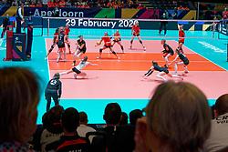 08–01-2020 NED: Olympic qualification tournament women, Apeldoorn<br /> Belgium - Germany / Centercourt support