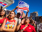 05 OCTOBER 2013 - PHOENIX, ARIZONA: People in Phoenix demonstrate for immigration reform. More than 1,000 people marched through downtown Phoenix Saturday to demonstrate for the DREAM Act and immigration reform. It was a part of the National Day of Dignity and Respect organized by the Action Network.  PHOTO BY JACK KURTZ