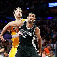 19 March 2014: San Antonio Spurs forward Tim Duncan (21) vies for the rebound with Los Angeles Lakers center Pau Gasol (16) during the San Antonio Spurs 125-109 victory over the Los Angeles Lakers at the Staples Center, Los Angeles, California, USA.
