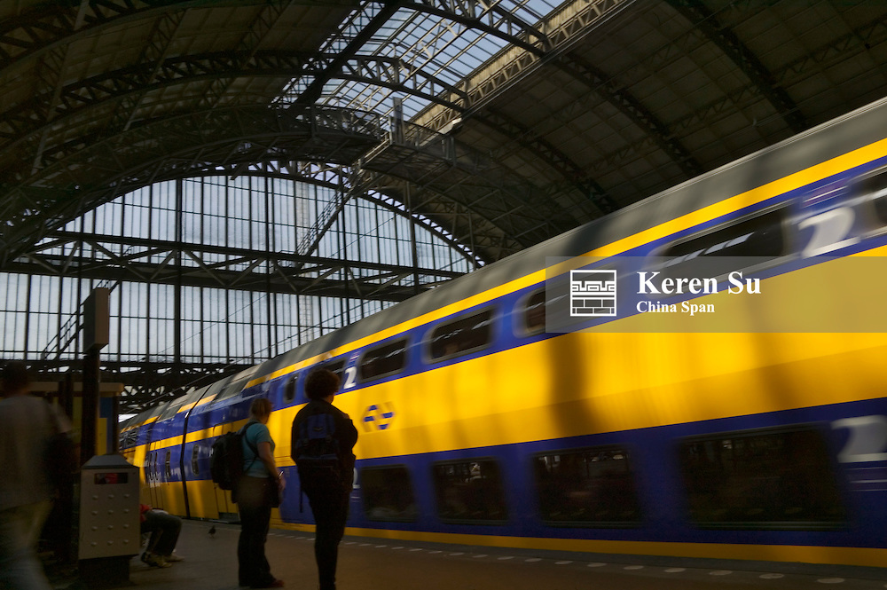 Train at central station, Amsterdam, Netherlands