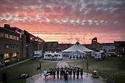A choir performs during an evening show in R&aring;dhusparken park.<br /> Aarhus, a quiet coastal town of Central Jutland is the second most populous city in Denmark and the main port of the country. <br /> Aarhus will be European Capital of Culture 2017.