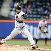 NEW YORK, NEW YORK - MAY 01: Pitcher Santiago Casilla #46 of the San Francisco Giants pitching during the New York Mets Vs San Francisco Giants MLB regular season game at Citi Field on May 01, 2016 in New York City. (Photo by Tim Clayton/Corbis via Getty Images)