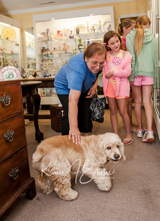 """Joanne Belanger of Billerica, MA says hello to """"Tanner"""" during a visit to Paws Antiques with her granddaughters Ava and Faith Clark.  (Karen Bobotas/for the Laconia Daily Sun)"""