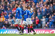 Jermain Defoe (#9) of Rangers FC celebrates after scoring a goal during the Ladbrokes Scottish Premiership match between Rangers FC and Hibernian FC at Ibrox, Glasgow, Scotland on 5 May 2019.