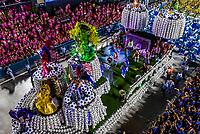 Floats in the Carnaval parade of Inocentes de Belford Roxo samba school in the Sambadrome, Rio de Janeiro, Brazil.