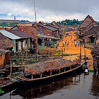 South America, Peru, Amazon River. remote village port.