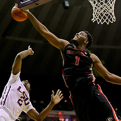 Jan 26, 2016; Baton Rouge, LA, USA; Georgia Bulldogs forward Yante Maten (1) blocks a shot by LSU Tigers guard Antonio Blakeney (2) during the second half of a game at the Pete Maravich Assembly Center. LSU defeated Georgia 89-85. Mandatory Credit: Derick E. Hingle-USA TODAY Sports