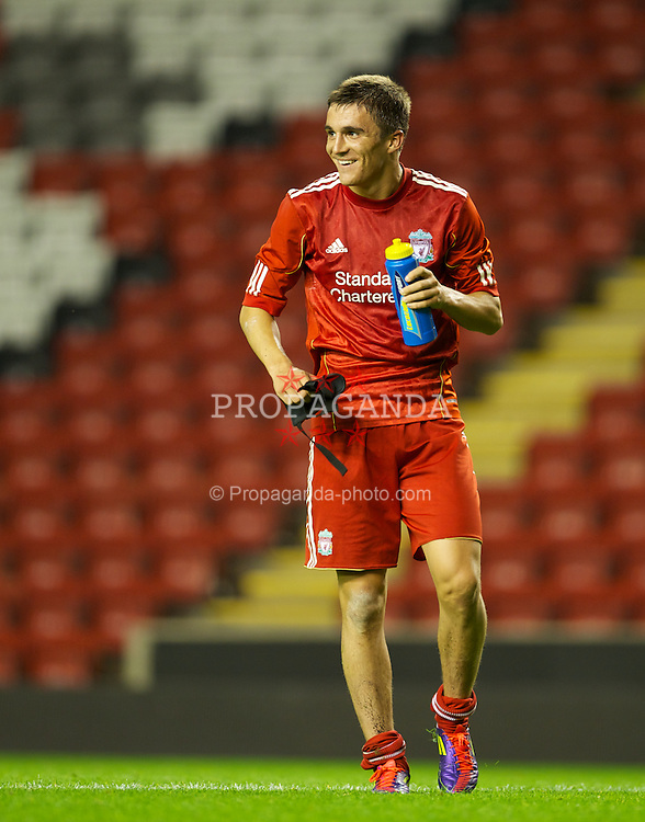 LIVERPOOL, ENGLAND - Thursday, September 29, 2011: Liverpool's two-goal hero Adam Morgan celebrates his side's 3-0 victory over Molde FK during the NextGen Series Group 2 match at Anfield. (Pic by David Rawcliffe/Propaganda)