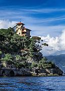 Hilltop house overlooking Portofino bay, Portofino, Liguria, Italy.