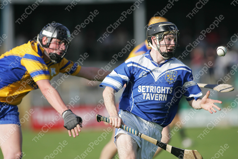 Cratloe's Martin Ogie Murphy comes away from Inagh's Brendan Long in thier meeting in Cusack Park on Saturday. Pic. Brian Arthur/ Press 22.