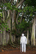 Statue of Thomas Edison by banyan tree planted by him at his winter estate home, Seminole Lodge, Fort Myers, Florida, USA