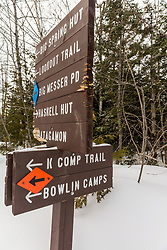 Trail signs in the backcountry of Maine's Katahdin Woods and Waters National Monument.