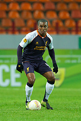 MOSCOW, RUSSIA - Thursday, November 8, 2012: Liverpool's Andre Wisdom in action against FC Anji Makhachkala during the UEFA Europa League Group A match at the Lokomotiv Stadium. (Pic by David Rawcliffe/Propaganda)