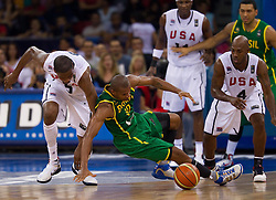 30.08.2010, Abdi Ipekci Arena, Istanbul, TUR, 2010 FIBA World Championship, USA vs Brasil, im Bild .Kevin Durant  of USA vs Leandro Barbosa of Brasil during the Preliminary Round - Group B basketball match. EXPA Pictures © 2010, PhotoCredit: EXPA/ Sportida/ Vid Ponikvar *** ATTENTION *** SLOVENIA OUT!