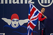 Scott Quin of Great Britain carries the Union Jack flag  during the World Para Swimming Championships 2019 Day 1 held at London Aquatics Centre, London, United Kingdom on 9 September 2019.