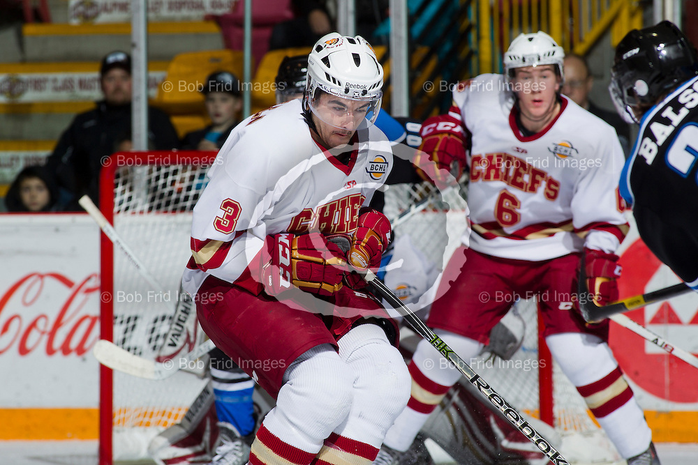 10 November 2012:  Ben Masella (3) of the Chiefs  during a game between the Chilliwack Chiefs and the Penticton Vees at  Prospera Centre, Chilliwack, BC.    Final Score: Chilliwack 5  Penticton 4   ****(Photo by Bob Frid - All Rights Reserved 2012): mobile: 778-834-2455 : email: bob.frid@shaw.ca ****