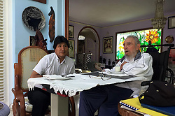 HAVANA, Aug. 16, 2016 (Xinhua) -- Image taken on Aug. 15, 2016 shows Cuba's revolutionary leader and former President Fidel Castro (R) meeting with Bolivian President Evo Morales, in Havana, Cuba. Morales arrived here Monday and met the leader of the Cuban Revolution, Fidel Castro, as part of celebrations for Castro's 90th birthday. (Xinhua/ABI) (jp) (ah) (Credit Image: © Abi/Xinhua via ZUMA Wire)