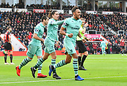 Goal - Pierre-Emerick Aubameyang (14) of Arsenal celebrates scoring a goal to make the score 1-2 during the Premier League match between Bournemouth and Arsenal at the Vitality Stadium, Bournemouth, England on 25 November 2018.