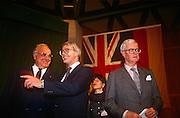 British Prime Minister, John Major and Chancellor Helmut Kohl after the joint press conference with Foreign Secretary Douglas Hurd, during the Anglo-German summit on 11th November 1992 at Heythrop Park in Oxfordshire, England.