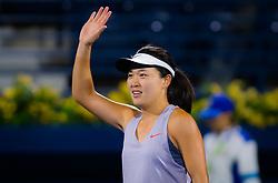 February 18, 2019 - Dubai, ARAB EMIRATES - Lin Zhu of China after winning her first round match at the 2019 Dubai Duty Free Tennis Championships WTA Premier 5 tennis tournament (Credit Image: © AFP7 via ZUMA Wire)