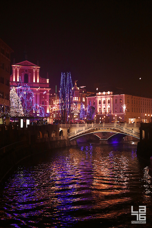 Ljubljana, Slovenia, in festive December colors. Veseli december v Ljubljani.