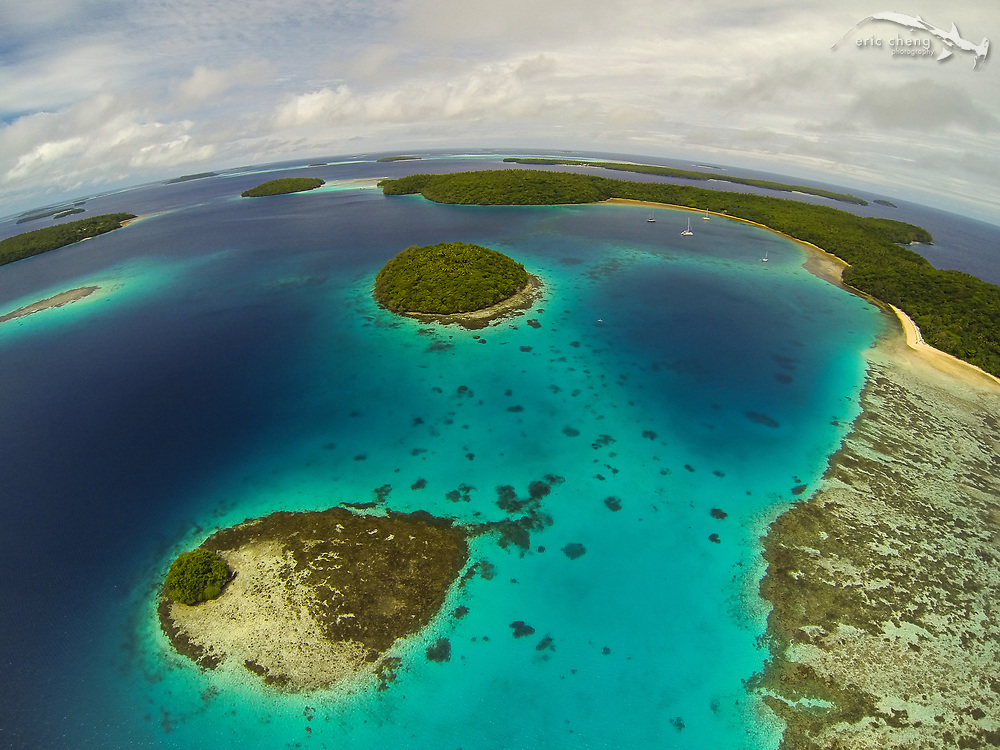 Aerial shot of Vakaeitu, Vava'u, Tonga