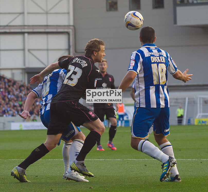 BRIGHTON. UK. 29/09/2012. Birmingham City's Jonathan Spector and Brighton and Hove Albion's Gary Dicker at the match between Brighton and  Hove Albion FC and Birmingham City FC held at the American Express Community Stadium Falmer. © Peter Webb | STOCKPIX.EU. Photo credit: Peter Webb | STOCKPIX.EU